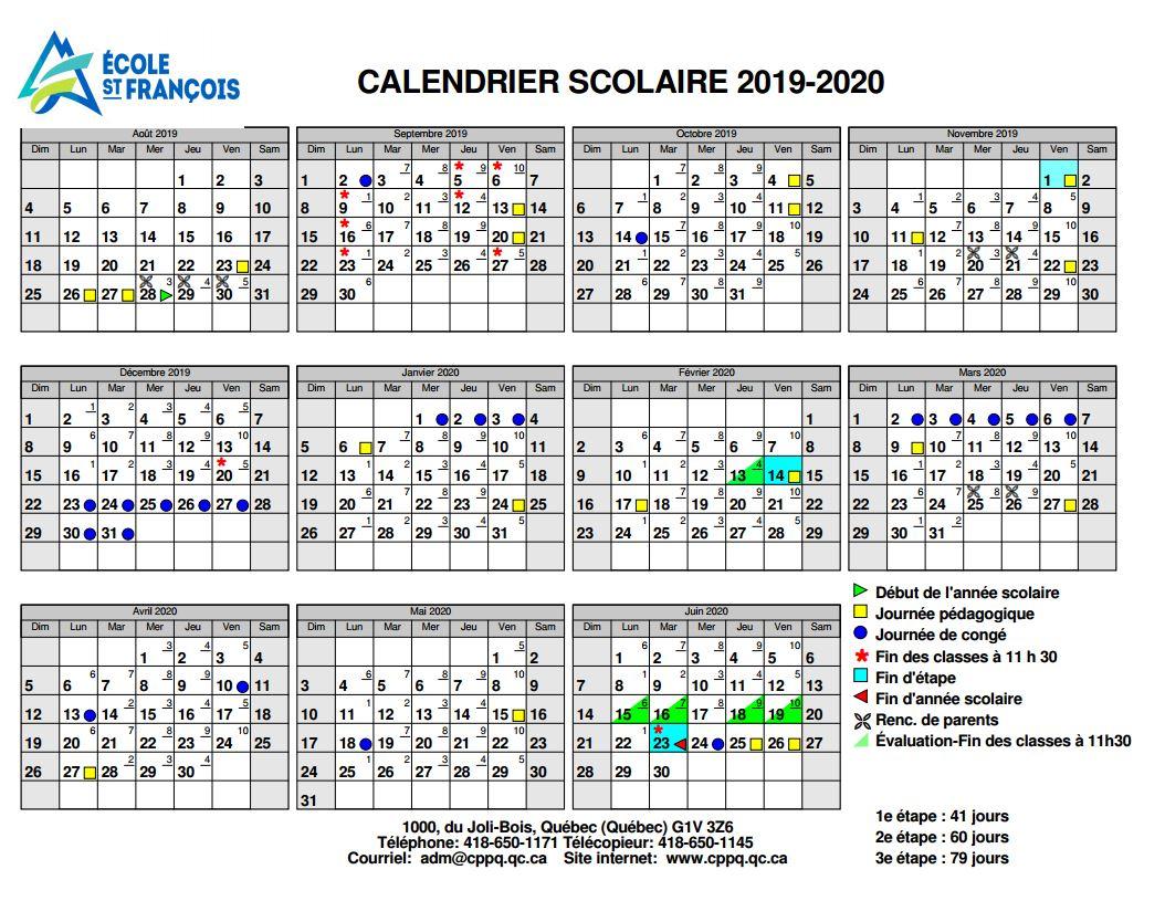 Calendrier Pedagogique.Calendrier Scolaire Ecole St Francois